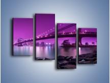 Obraz na płótnie – Manhatten Bridge w kolorze fioletu – czteroczęściowy AM619W2