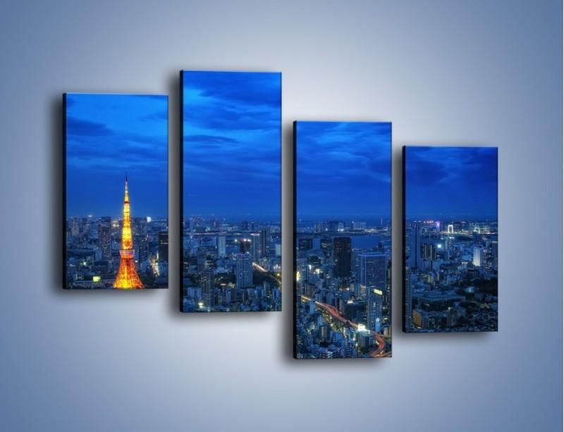 Obraz na płótnie – Tokyo Tower w Japonii – czteroczęściowy AM621W2