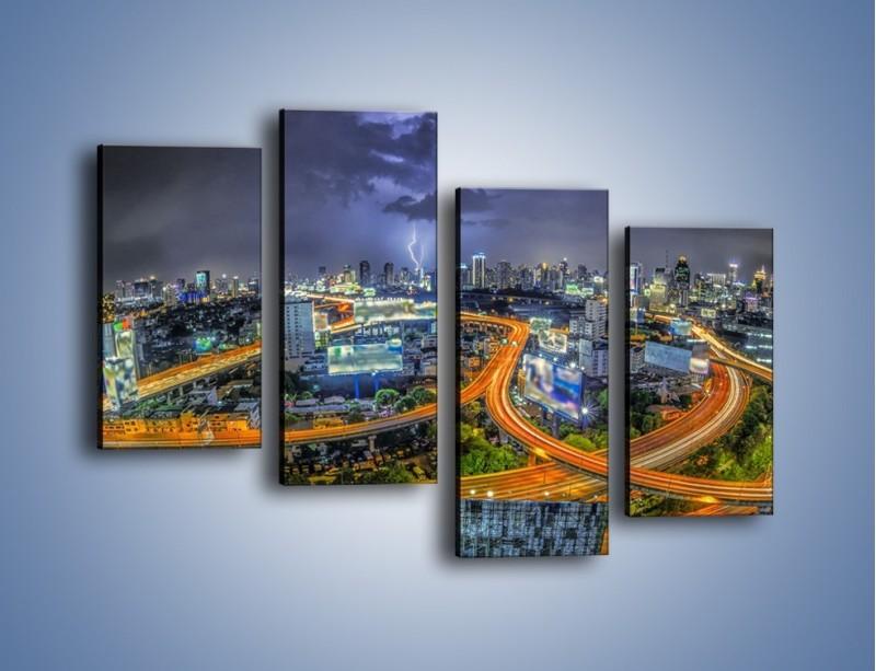 Obraz na płótnie – Burza nad Bangkokiem – czteroczęściowy AM622W2