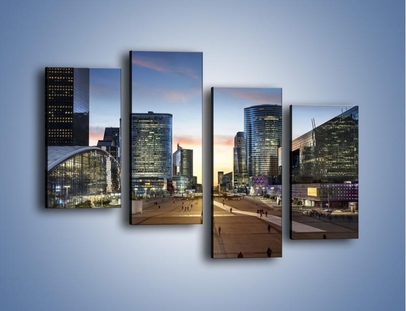 Obraz na płótnie – Quartier La Défense w Paryżu – czteroczęściowy AM647W2