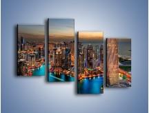 Obraz na płótnie – Centrum Dubaju wieczorową porą – czteroczęściowy AM656W2