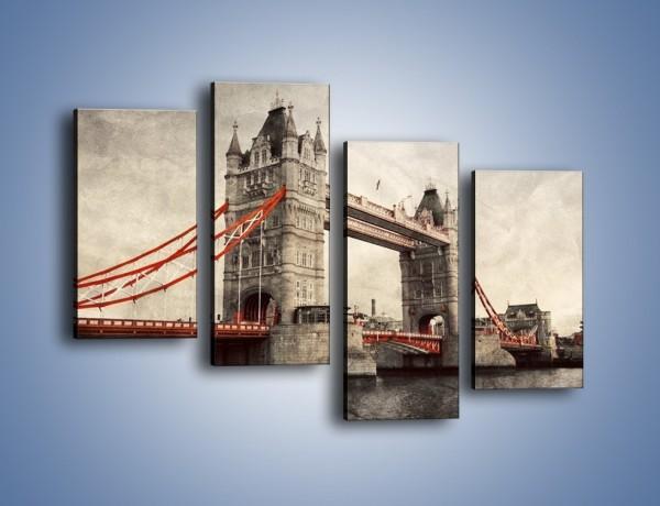 Obraz na płótnie – Tower Bridge w stylu vintage – czteroczęściowy AM668W2