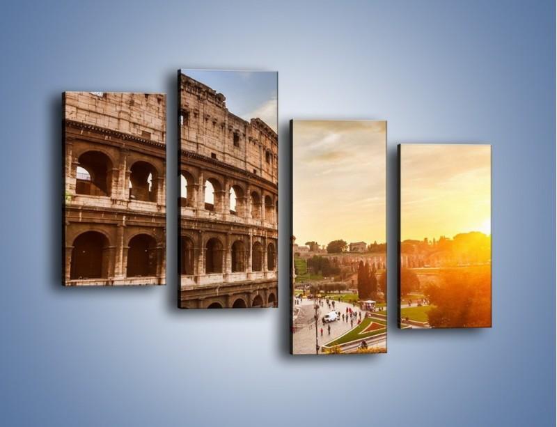 Obraz na płótnie – Rzymskie Koloseum o zachodzie słońca – czteroczęściowy AM684W2