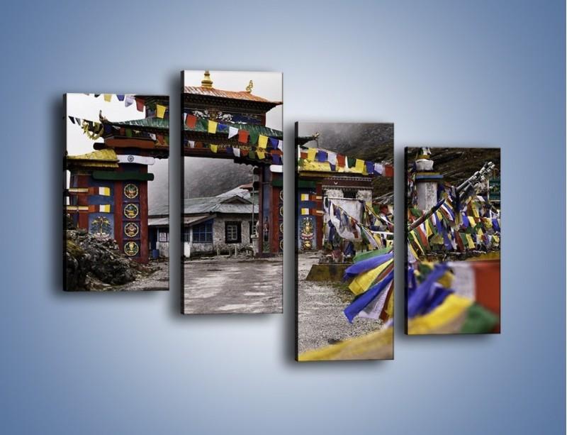 Obraz na płótnie – Brama do miasta Tawang w Tybecie – czteroczęściowy AM689W2
