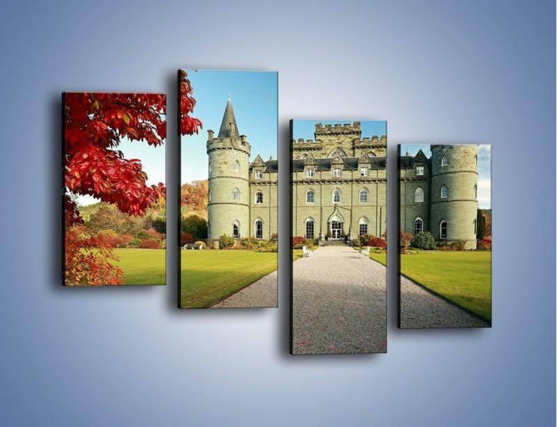 Obraz na płótnie – Zamek Inveraray w Szkocji – czteroczęściowy AM691W2