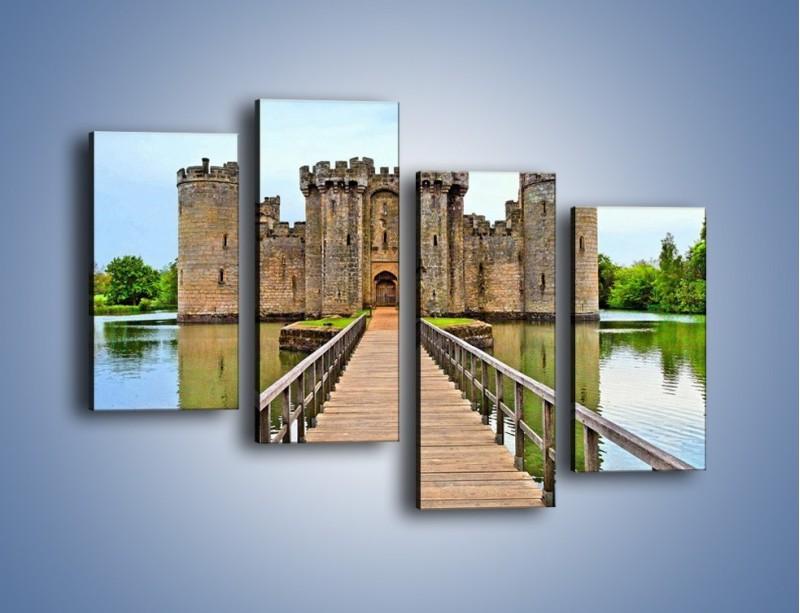 Obraz na płótnie – Zamek Bodiam w Wielkiej Brytanii – czteroczęściowy AM692W2