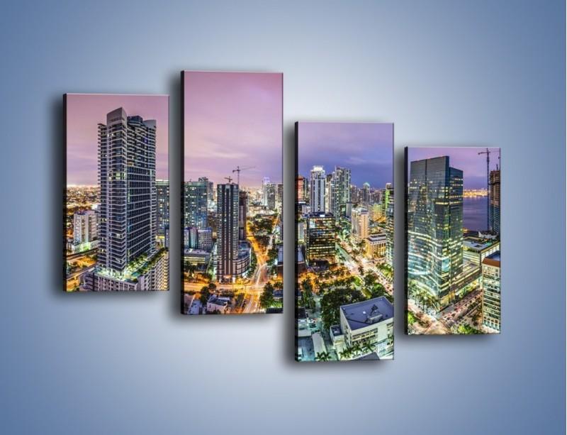 Obraz na płótnie – Centrum Miami – czteroczęściowy AM702W2