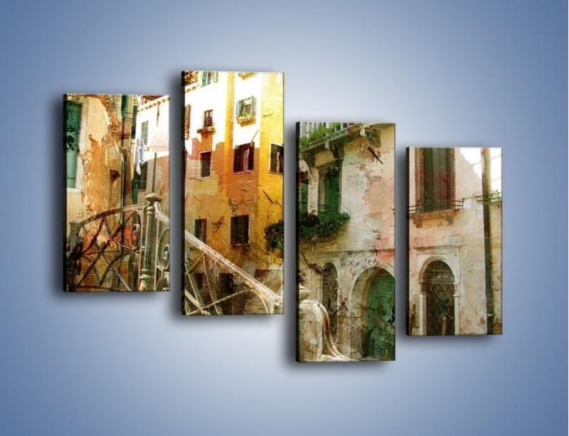 Obraz na płótnie – Wenecka architektura w stylu vintage – czteroczęściowy AM718W2