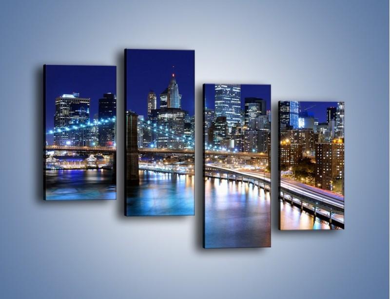 Obraz na płótnie – Nocne światła Nowego Yorku – czteroczęściowy AM726W2