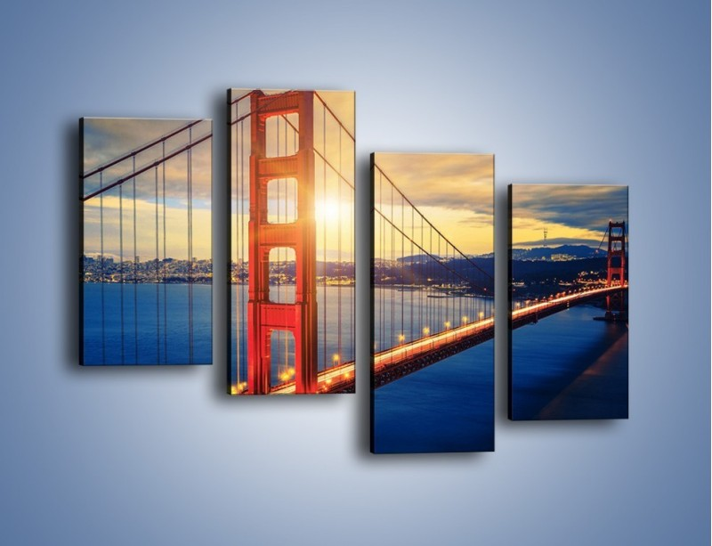 Obraz na płótnie – Zachód słońca nad Mostem Golden Gate – czteroczęściowy AM738W2