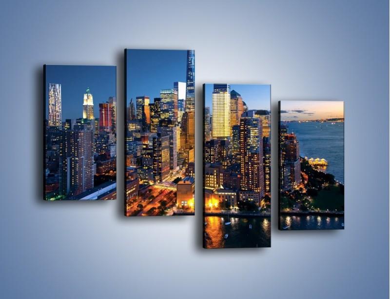 Obraz na płótnie – Zmierzch nad Manhattanem – czteroczęściowy AM749W2