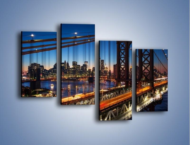 Obraz na płótnie – Nowojorskie mosty na tle Manhattanu – czteroczęściowy AM751W2