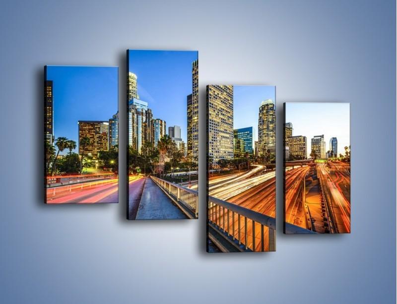 Obraz na płótnie – Światła Los Angeles o zmierzchu – czteroczęściowy AM753W2