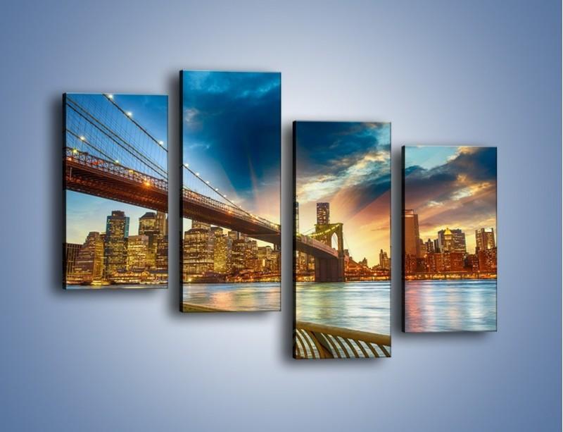 Obraz na płótnie – Most w Nowym Jorku o zmierzchu – czteroczęściowy AM754W2