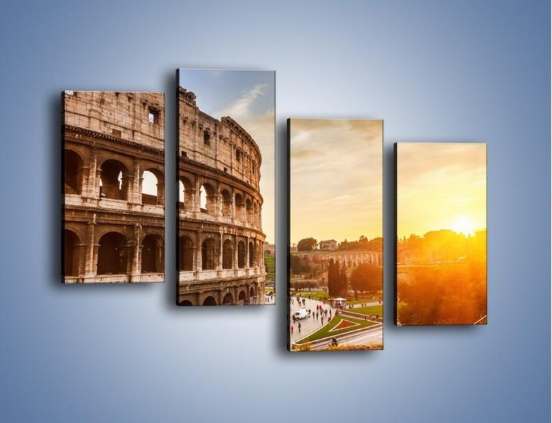 Obraz na płótnie – Zachód słońca nad Rzymem – czteroczęściowy AM763W2