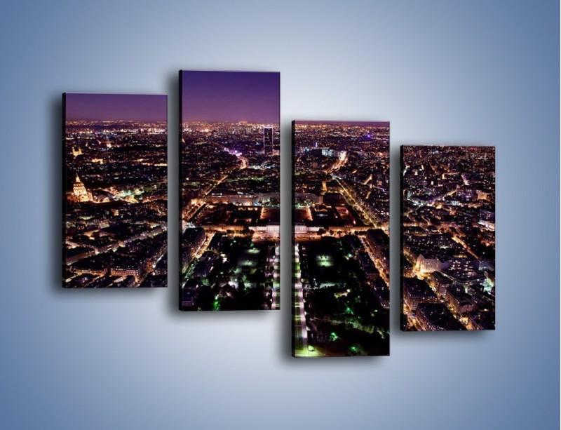 Obraz na płótnie – Panorama Paryża z Wieży Eiffla – czteroczęściowy AM764W2