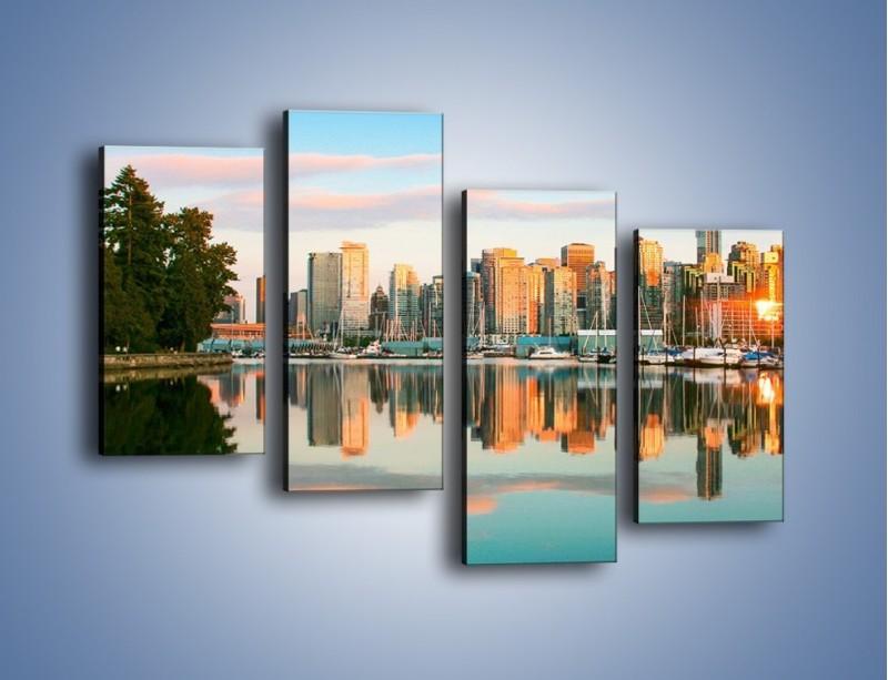 Obraz na płótnie – Widok na Vancouver – czteroczęściowy AM765W2
