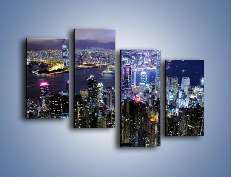 Obraz na płótnie – Nocna panorama Hong Kongu – czteroczęściowy AM772W2