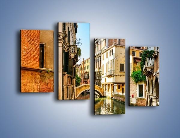 Obraz na płótnie – Romantyczny kanał w Wenecji – czteroczęściowy AM795W2
