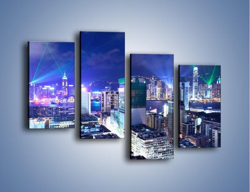 Obraz na płótnie – Pokaz laserów nad Hong Kongiem – czteroczęściowy AM796W2