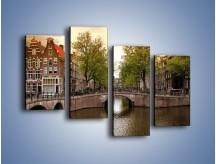 Obraz na płótnie – Amsterdamski kanał – czteroczęściowy AM800W2