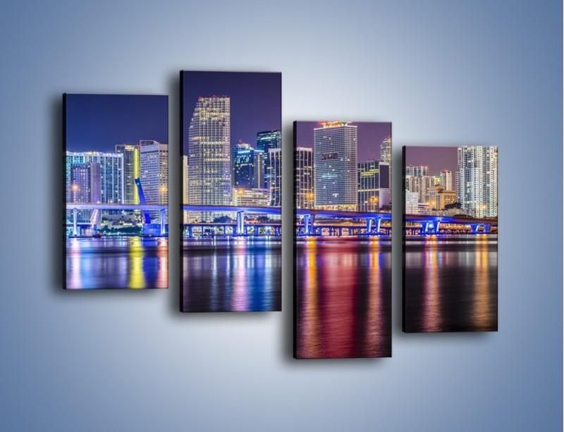 Obraz na płótnie – Światla Miami w odbiciu wód Biscayne Bay – czteroczęściowy AM813W2