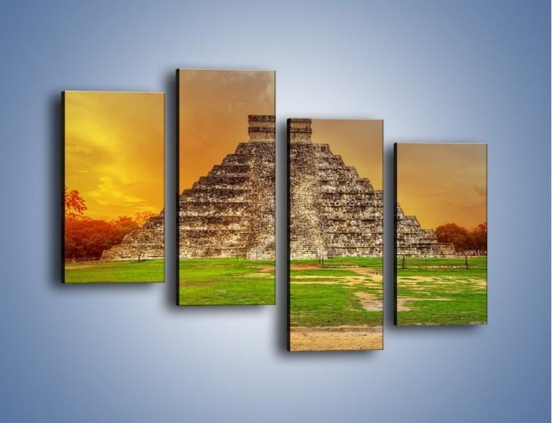Obraz na płótnie – Piramida Kukulkana w Meksyku – czteroczęściowy AM814W2