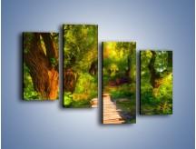 Obraz na płótnie – Drewniana kładka przez las – czteroczęściowy GR007W2