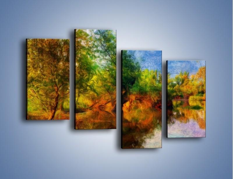 Obraz na płótnie – Drzewa w wodnym lustrze – czteroczęściowy GR010W2