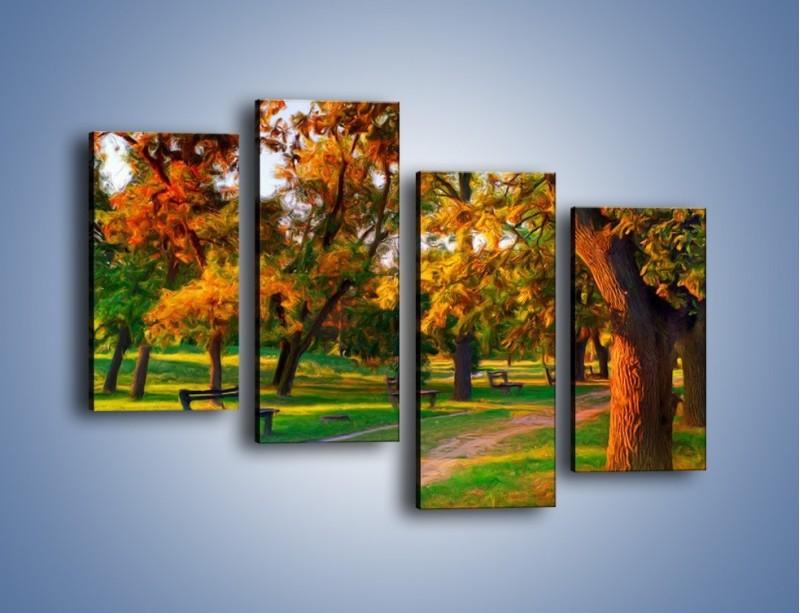 Obraz na płótnie – Ławeczka w parku – czteroczęściowy GR011W2