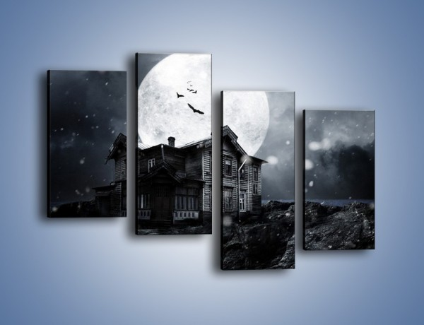 Obraz na płótnie – Nietoperze i pełnia księżyca – czteroczęściowy GR012W2
