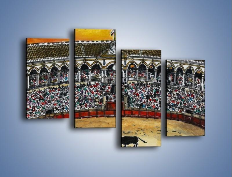 Obraz na płótnie – Walka torreadora z bykiem – czteroczęściowy GR040W2