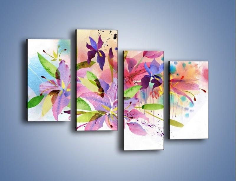 Obraz na płótnie – Kolory zachowane w kwiatach – czteroczęściowy GR043W2
