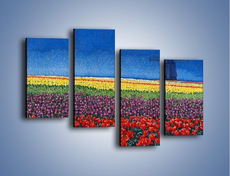 Obraz na płótnie – Spacer przez kolorowe maki – czteroczęściowy GR049W2