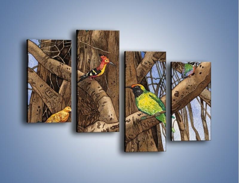 Obraz na płótnie – Mali przyjaciele na drzewie – czteroczęściowy GR050W2