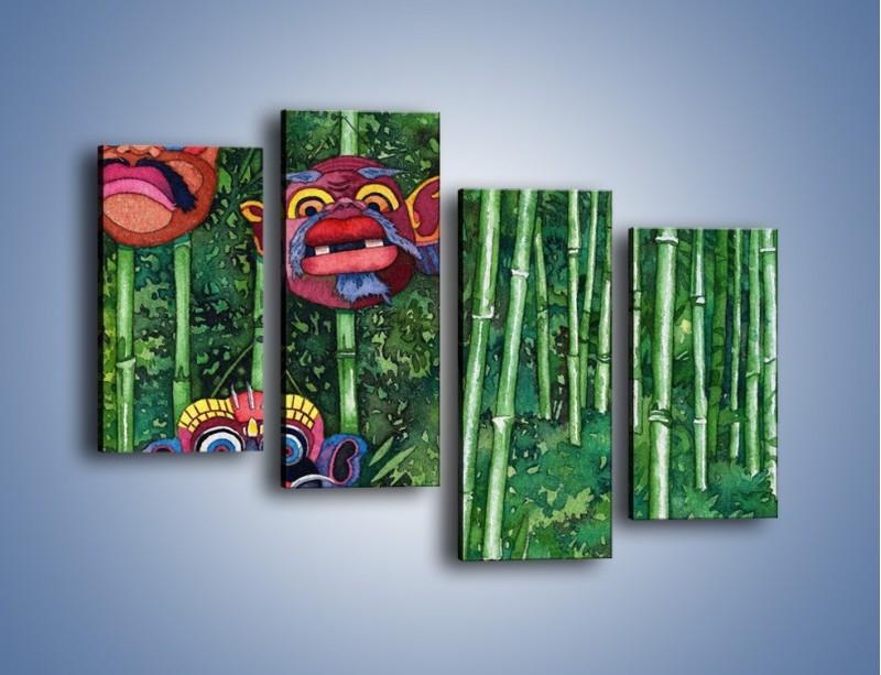 Obraz na płótnie – Maski dzikiego plemienia – czteroczęściowy GR051W2