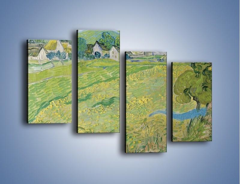 Obraz na płótnie – Łąka i małe domki – czteroczęściowy GR105W2