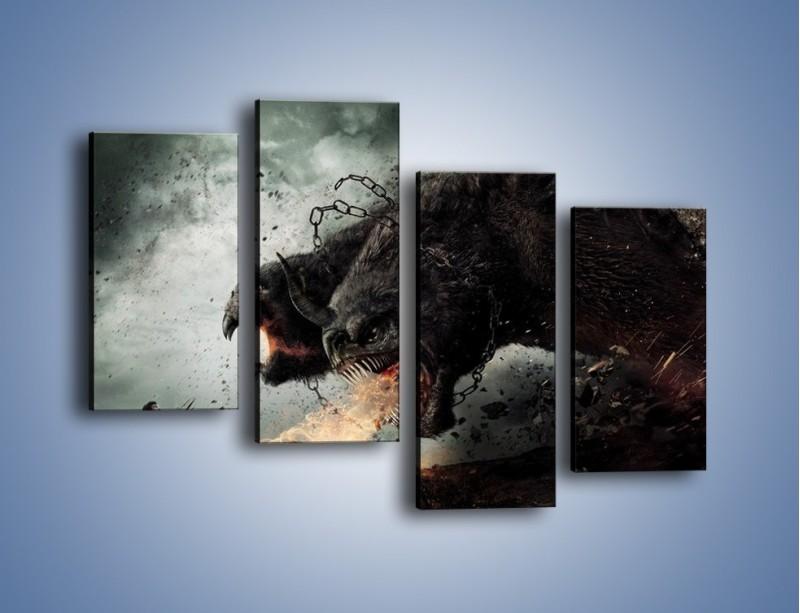 Obraz na płótnie – Groźny podmuch potworów – czteroczęściowy GR174W2