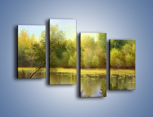 Obraz na płótnie – Wodny świat i drzewa – czteroczęściowy GR289W2