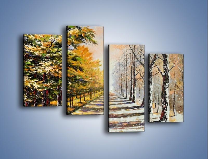 Obraz na płótnie – Trochę jesieni trochę zimy – czteroczęściowy GR292W2