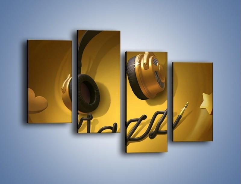 Obraz na płótnie – Złote nuty jazzu – czteroczęściowy GR305W2
