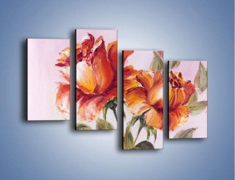 Obraz na płótnie – Kwiaty na płótnie malowane – czteroczęściowy GR322W2