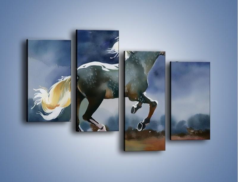 Obraz na płótnie – Bieg z koniem przez noc – czteroczęściowy GR339W2