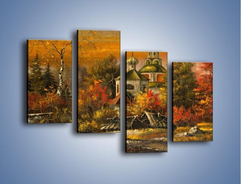Obraz na płótnie – Kaplica późną jesienią – czteroczęściowy GR369W2