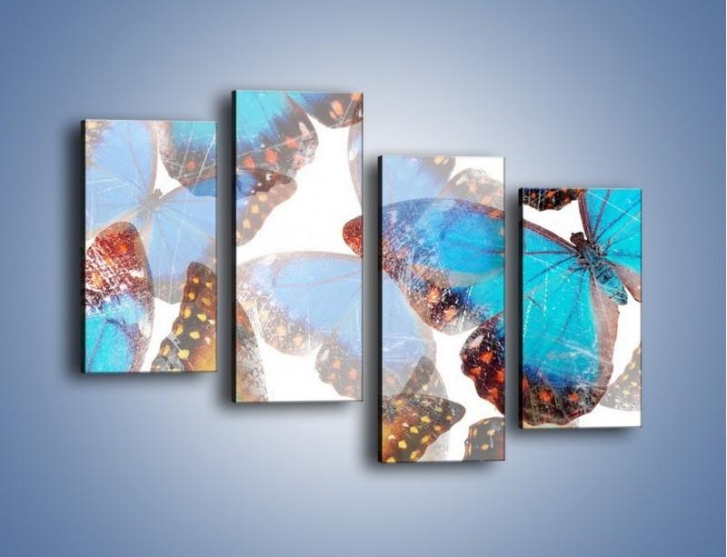 Obraz na płótnie – Motyl w niebieskim kolorze – czteroczęściowy GR403W2