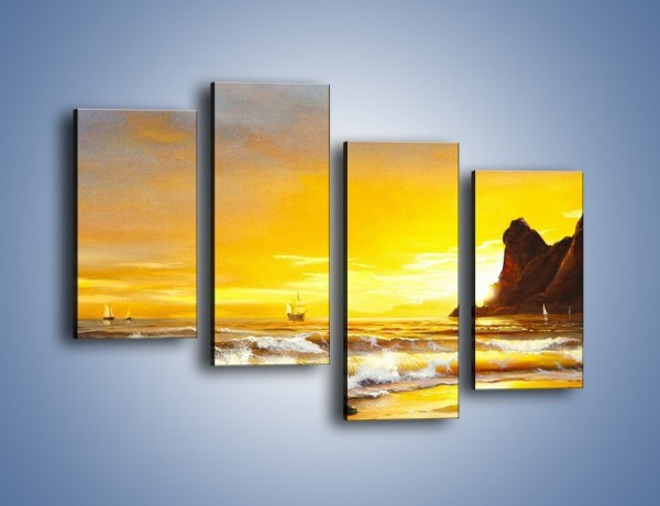 Obraz na płótnie – Morski krajobraz w zachodzącym słońcu – czteroczęściowy GR476W2