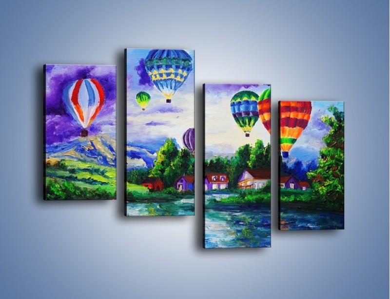 Obraz na płótnie – Lot kolorowym balonem – czteroczęściowy GR482W2