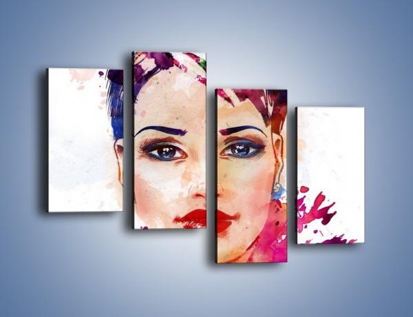 Obraz na płótnie – Piękna kobieta w kolorze – czteroczęściowy GR499W2