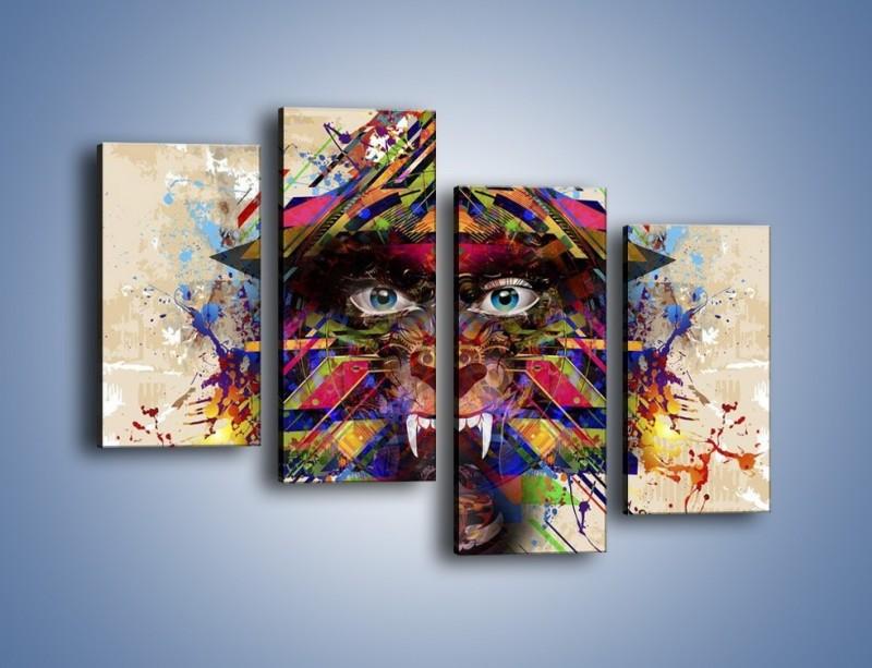 Obraz na płótnie – Groźny mimo kolorów – czteroczęściowy GR515W2
