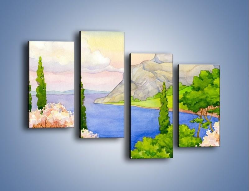 Obraz na płótnie – Krajobraz jak z pocztówki – czteroczęściowy GR541W2